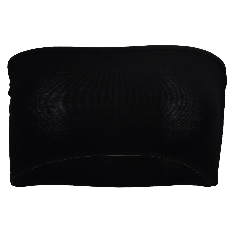 Black Sexy Strapless Boob Tube Top Bandeau Bra Wiping Clubwear Crop Stretch