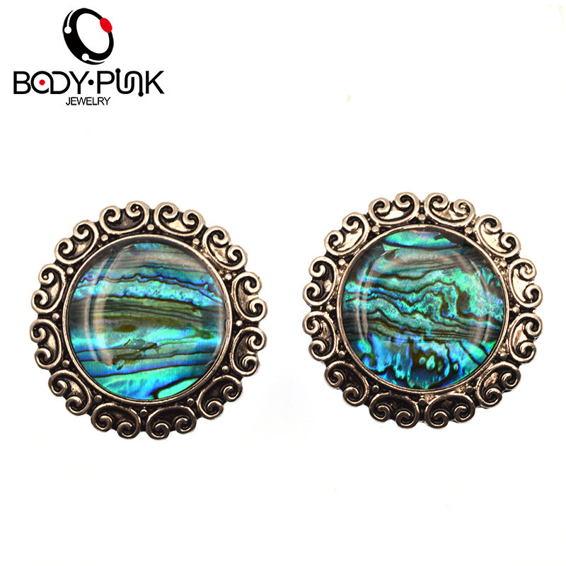 BADAN PUNK Gaya Euro Retro Stainless Steel Plug Oil Drip Stud Earrings Ear Plugs Ear Stretcher Tunnel Body Piercing Jewelry