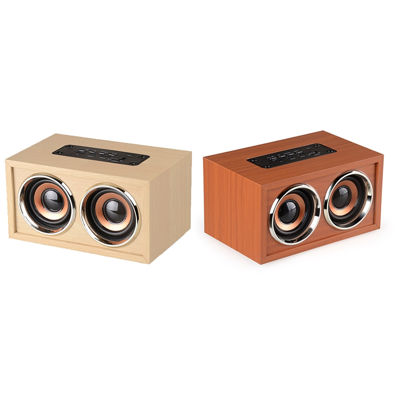 OOTDTY  Portable Retro Wooden Dual Loudspeakers Wireless Bluetooth Speaker 3D Surround