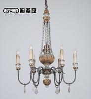 6 головок Винтаж Amercian деревенский деревянный и гладить люстра лампа, Гостиная отель и Спальня Люстры