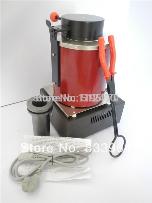 2kg Gold Electric Melting Furnace with extra , 2kg Graphite Crucible and Plier 220v ,