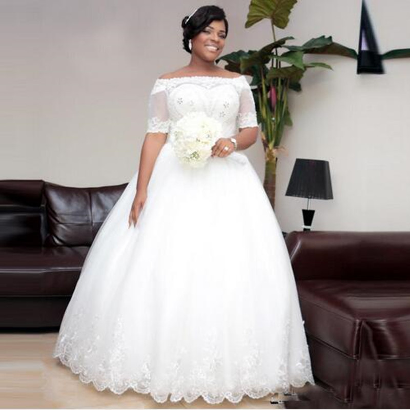 African Wedding Gown: 2016 Vintage Beaded White Lace Plus Size Ball Gown African