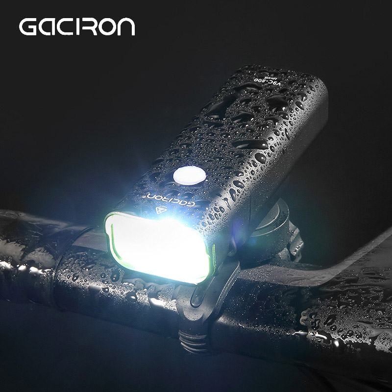 Gaciron Waterproof 800 Lumen Bicycle Light USB Rechargeable MTB Road Bike Handlebar Headlight 2500mAh Front Flashlight LED Lamp gaciron 1000lumen bicycle bike headlight usb rechargeable cycling flashlight front led torch light 4500mah power bank for phone