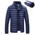 Pato para baixo homens jaqueta de inverno 90% Para Baixo Conteúdo fina ultra light para baixo inverno jaqueta parkas casacos de inverno manga longa sólida