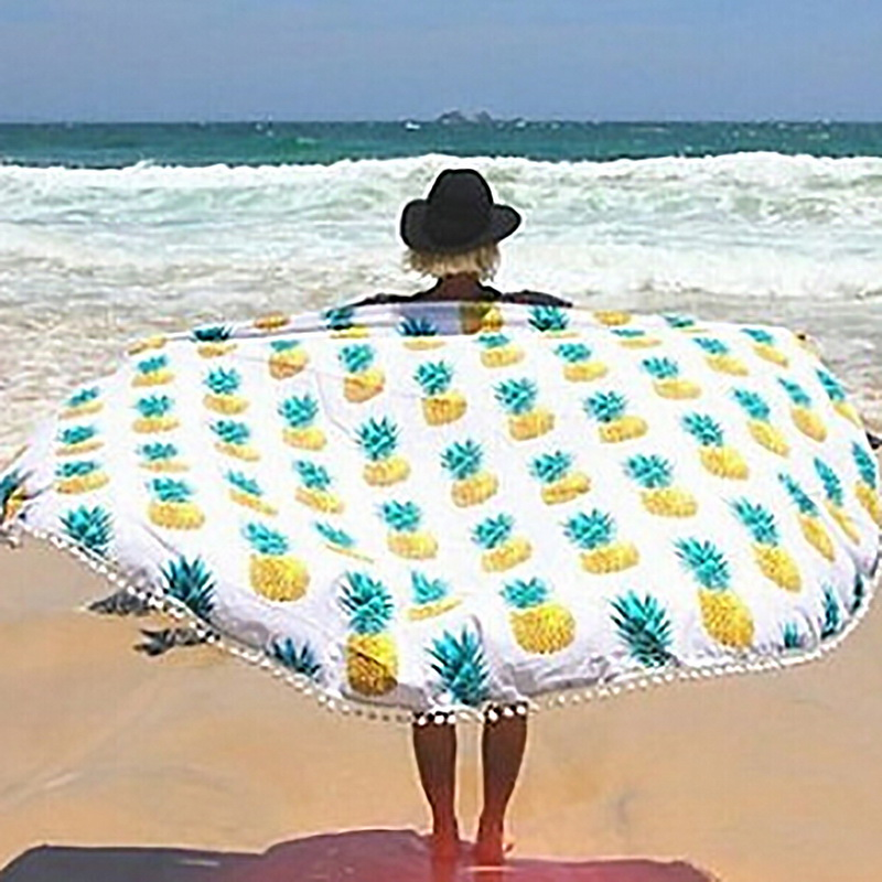 Round Mandala Tapestry Outdoor Beach Towel Picnic Blanket Bohemian Pineapple Wink Hippie ...