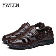 Мужские модные кожаные сандалии yween большие размеры мужские