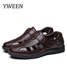 Ymusi sandálias masculinas de couro, tamanho grande, de couro, masculinas, casuais, para atividades ao ar livre, respirável, sapatos de praia