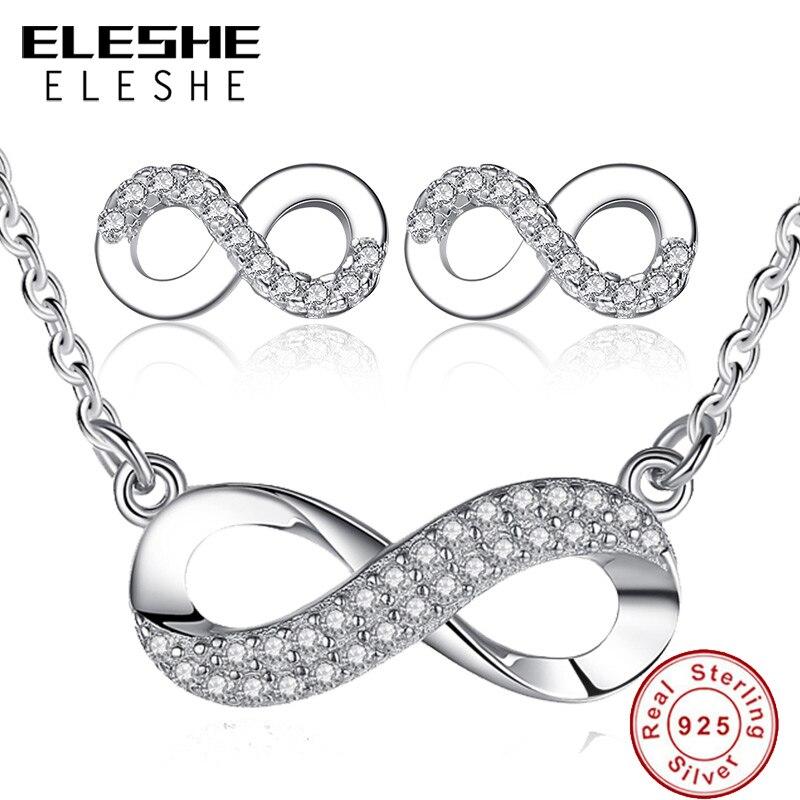 ELESHE Unique Design Women Girls Wedding Bridesmaid Infinity Jewelry Set Crystal 8 Shape Earrings&Necklace Pendant for Women chic rhinestone african plate shape pendant necklace and earrings for women