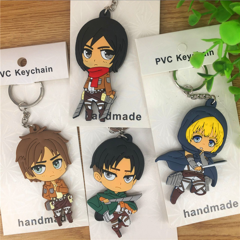 Cartoon Figures Keychain Action-Figure-Model Titan Attack Anime Toys Pvc-Collection Unisex