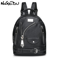 Punk zipper Women Backpack Rock School Student Rucksack Teenage Girl Boy Moto Biker Packsack PU Leather travel Backpacks bag