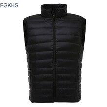 Fgkks marca de moda masculina colete jaqueta para baixo jaqueta 2020 outono inverno masculino casaco cor sólida sem mangas casual colete masculino