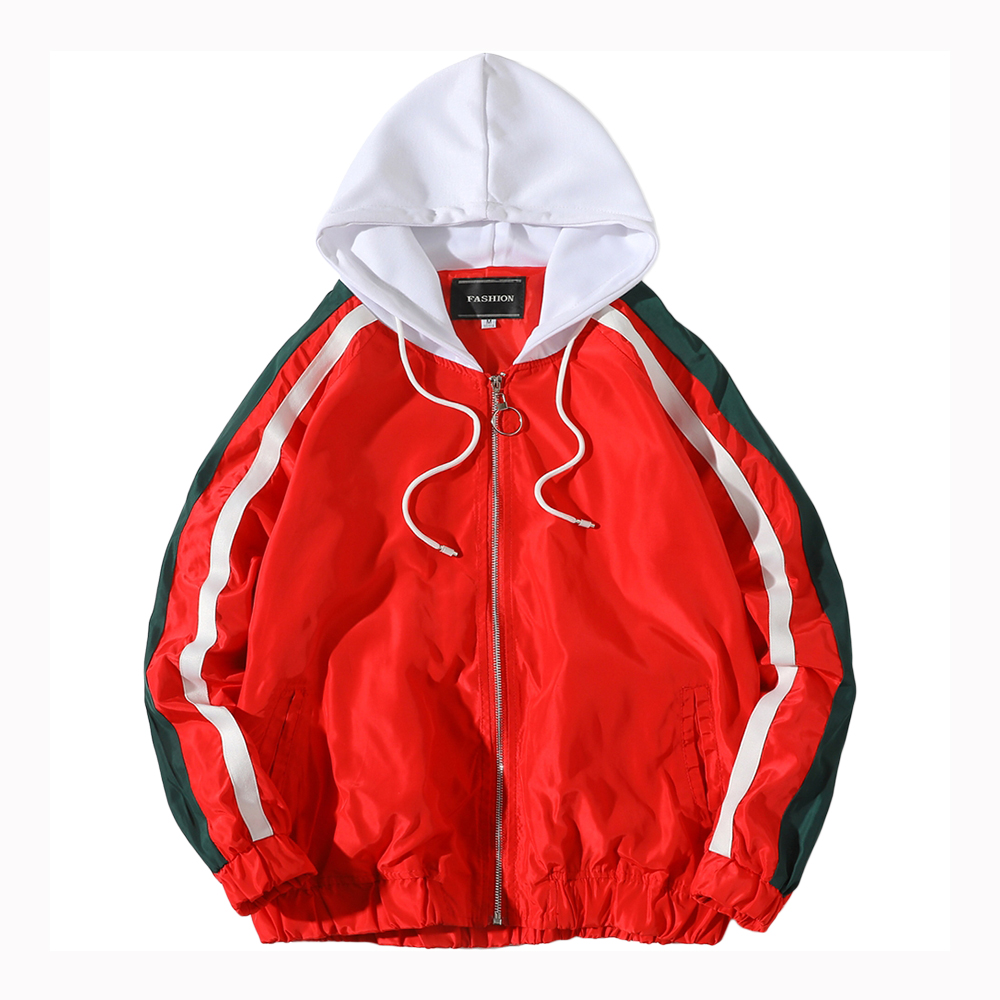 Hooded   Jackets   Women Coats 2019 Spring Causal Stripe   Basic     Jackets   Windbreaker Women Zipper Lightweight   Jackets   Bomber Famale