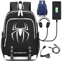 df6ca54f0ce43 Marvel Örümcek Adam Laptop Sırt Çantası Tuval Sırt Çantaları USB şarj portu  ve Kulaklık Bağlantı Noktası Anti Hırsızlık Seyahat .