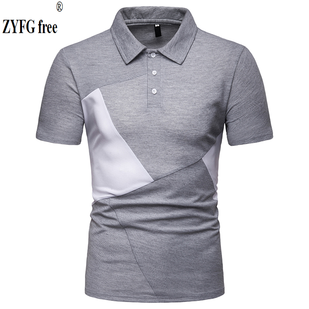 ZYFG free men   polo   casual splice contrast color short-sleeved   polo   shirt Slim fashion spring and summer male clothing