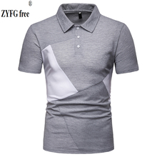 ZYFG free men polo casual splice contrast color short-sleeved shirt Slim fashion spring and summer male clothing