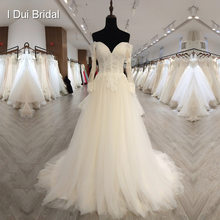 Off Shoulder Long Sleeve Wedding Dress A line Lace Appliqued Beaded Bridal Gown Factory High Quality Custom Made(China)