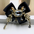 New fashion big gem crystal brooch pins baroque vintage bow AAA crystal  flower pendant brooch for women haute couture jewelry
