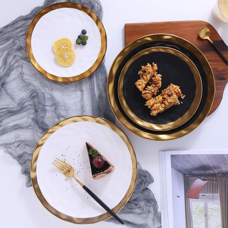 Ensemble assiette et bol en céramique | Ensemble de 4 pièces, incrustation en or vaisselle de collection avec bord en or, service de table blanc et noir