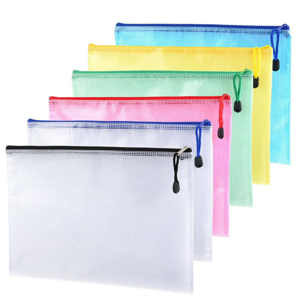 12 Pieces A4 Zipper Files Bags Mesh Documents Plastic Wallet Bags For Office Supplies, Cosmetic, Bills Storage Color Random