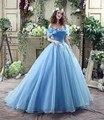 Off-the-ombro borboleta tule Cinderela gelado gelado azul cheap quinceanera vestidos azul vestidos de quinceanera tamanho 4-16