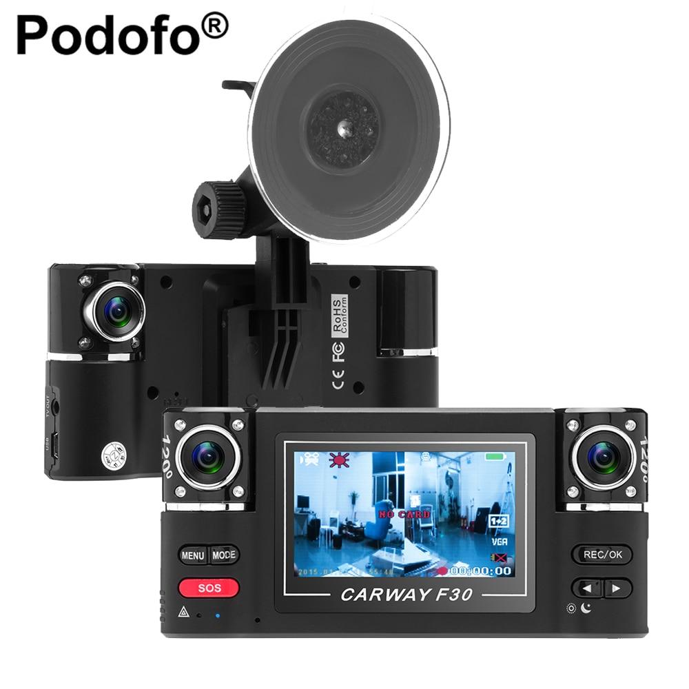 Podofo 2,7 Двойной объектив автомобиля Камера широкий угол обзора HD 1080 P цифрового видео Регистраторы Dashcam Ночное видение видеокамера управлять...
