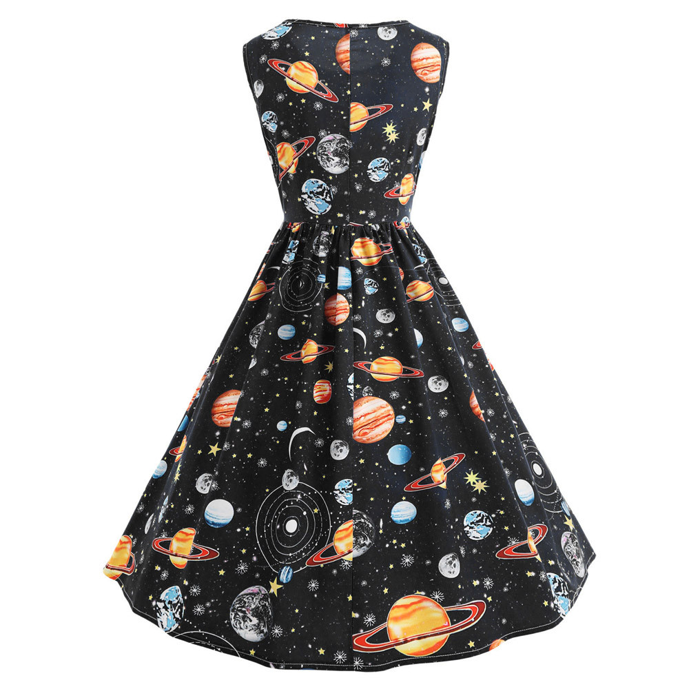 c5cfb75c697b Women Vintage Printing Starry Sky Planet Space Dress Fit and Flare sexy dress  Print 2019 Fashion