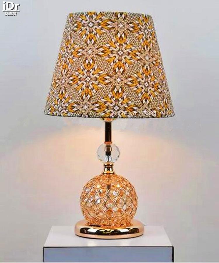 Stylish Modern Crystal Lamp Gold Pattern Fabric Lamp Bedroom Den Aisle Hall Table Lamps Olu 0065 Table Lamp Hall Table Lampslamp Bedroom Aliexpress