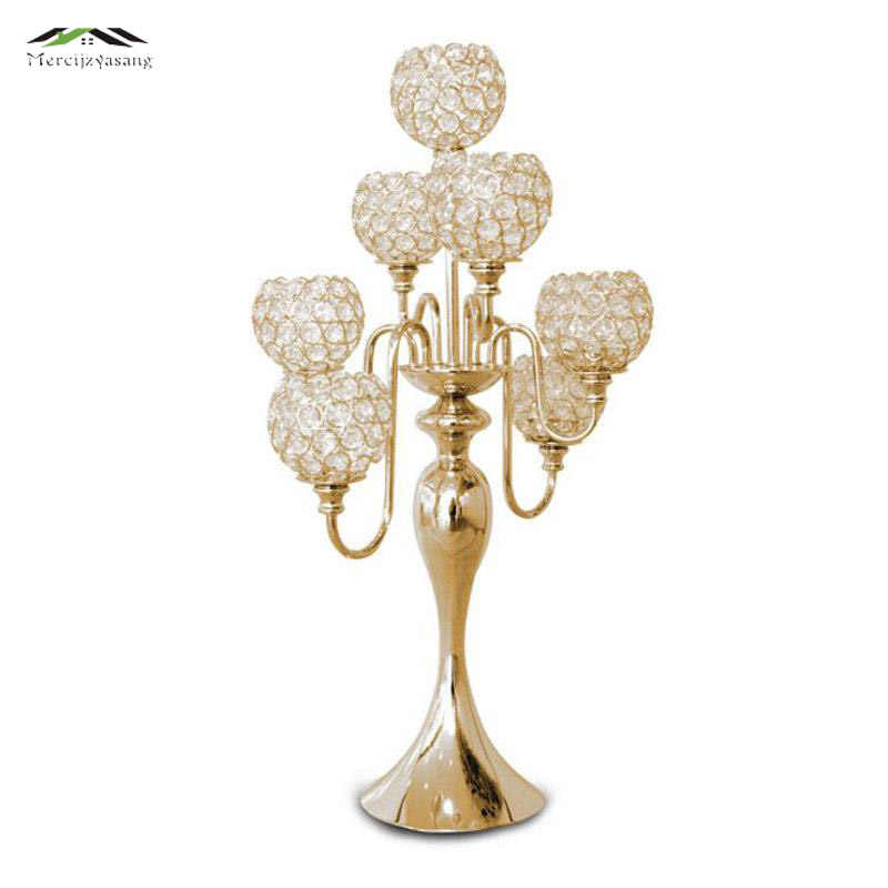 10Pcs/Lot Metal Gold/Silver Candle Holders Retro 7-Arms With Crystals Stand Pillar Candlestick For Wedding Portavelas Candelabra