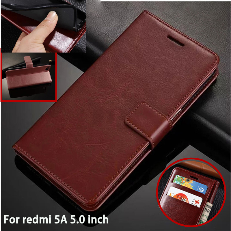 For Redmi 5A Leather Slot Wallet Stand Case Flip Case on Redmi 5A 5.0 Inch Wallet Stand Hold Case for Redmi 5A Silicone Coque ...
