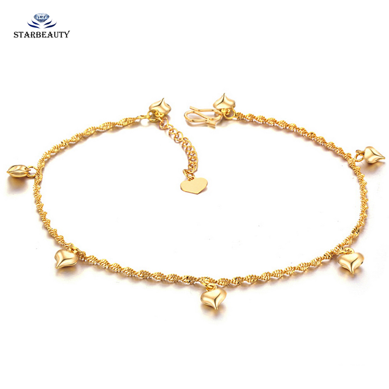 Summer Heart Anklet Bracelet Foot Chain Anklet Bohemian Carved Mini Bell Beach Anklets for Women Ankle Foot Jewelry