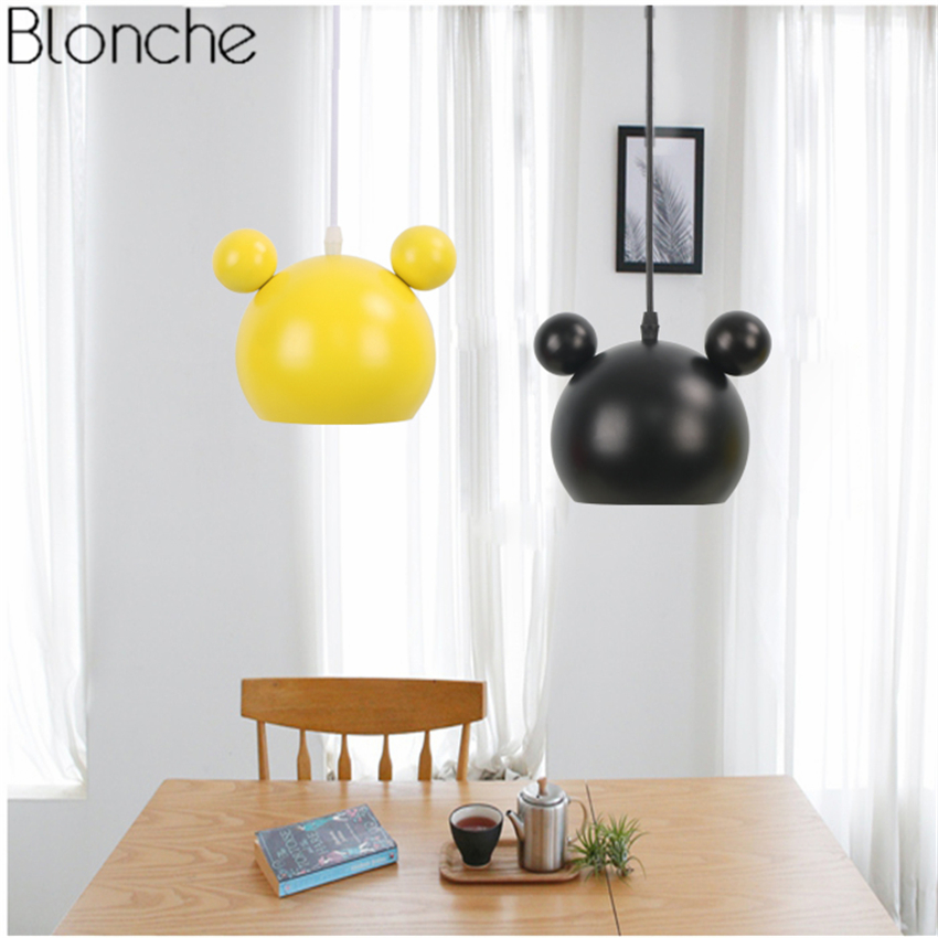 Nordic Mickey Led Pendant Lights Modern Hanging Lamp For Children S Room Kids Bedroom Light Fixture Home Loft Decor Luminaire