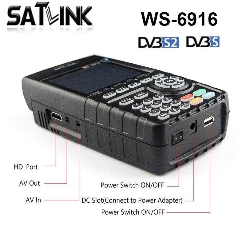 New Satlink WS 6916 DVB S2 Digital Satellite Finder Meter 1080P HD LNB Signal Pointer Satellite TV Receiver Tool Satlink WS 6916