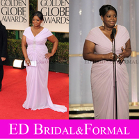 Octavia Spencer Lavender Cap Sleeve 2012 Golden Globe Awards Red Carpet Plus Size Homecoming Prom Dress