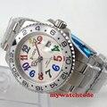 40 мм белый циферблат GMT керамический ободок с окошком даты автоматические мужские часы 57