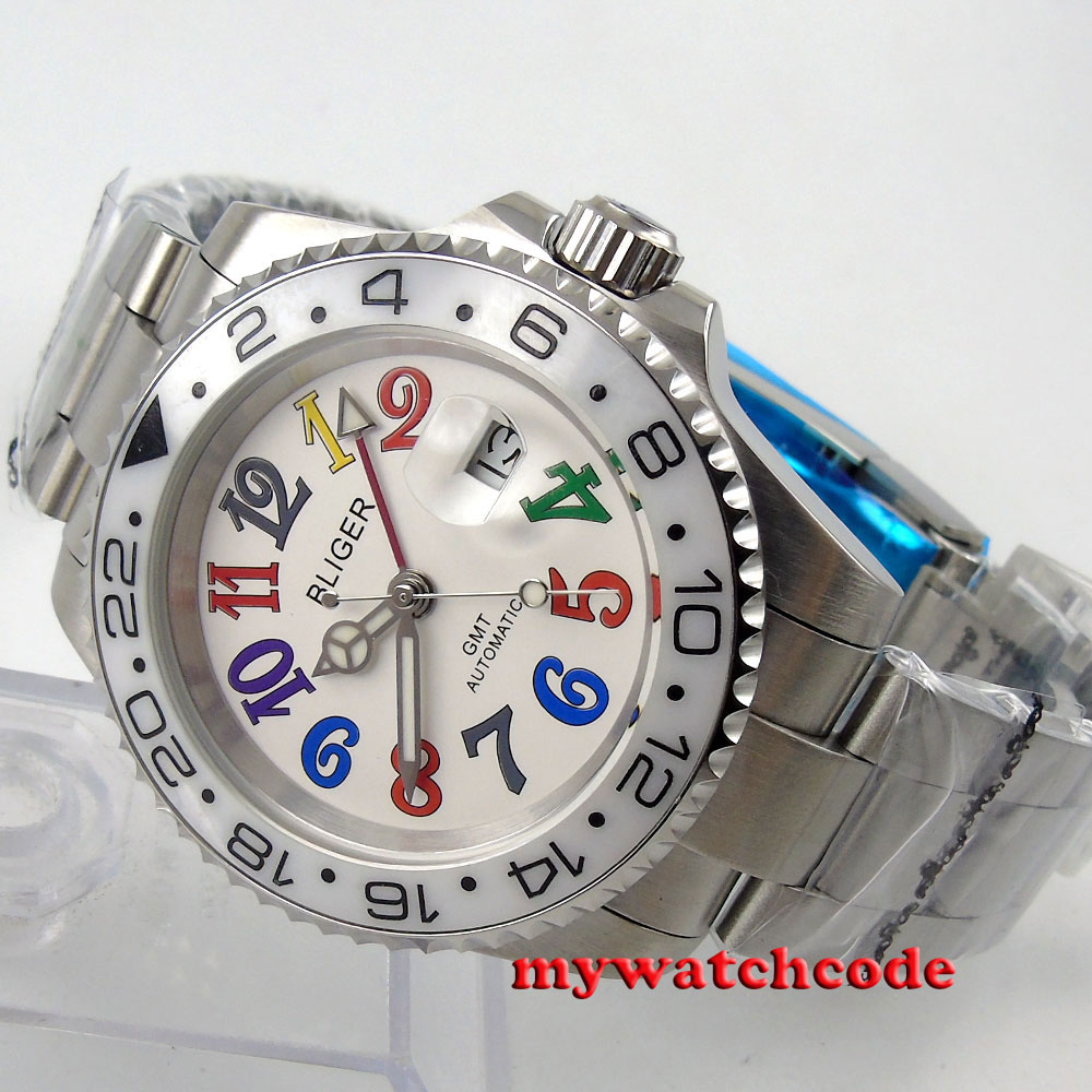 40mm Bliger white dial GMT ceramic bezel date window automatic mens watch 57