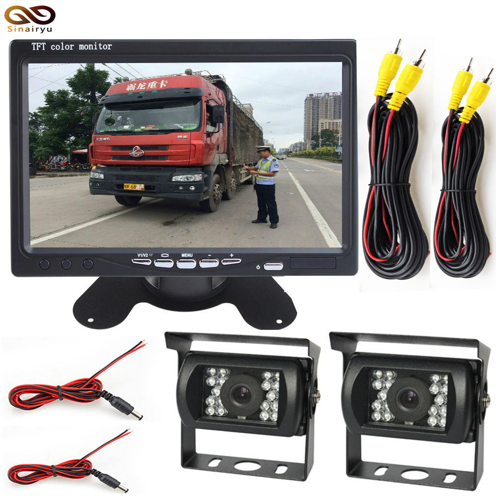 Sinairyu DC 12-36V Bus Truck Parking Monitor With 2 Camera+Rear View Camera + Front View Camera