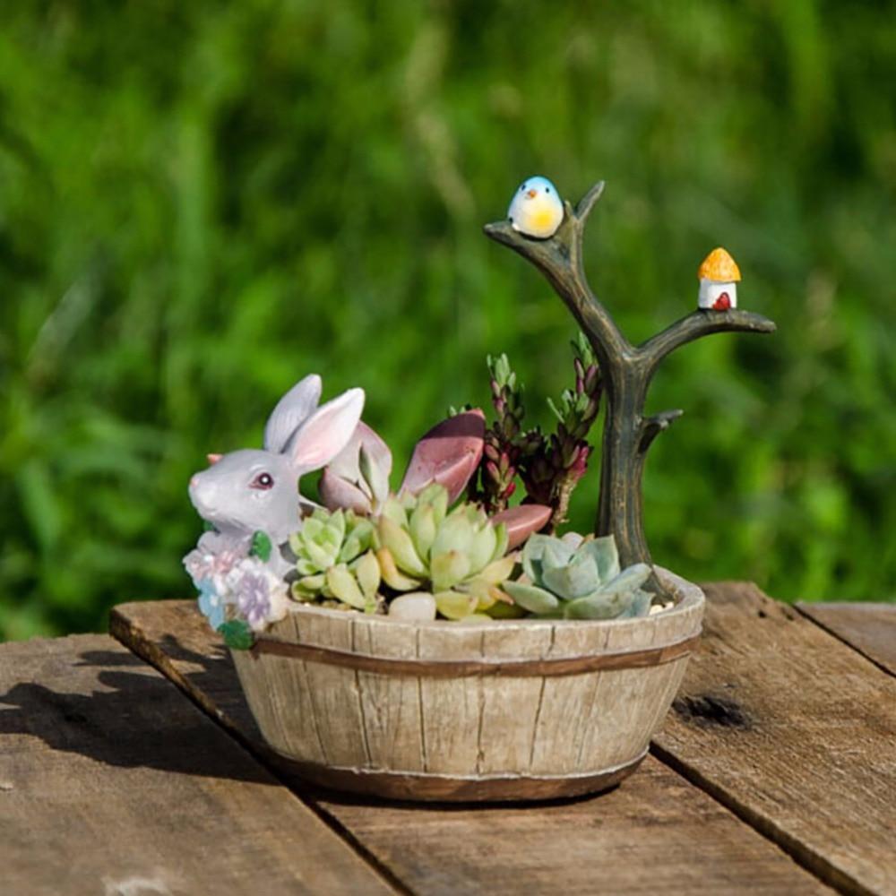 Leuke en mooie kleurrijke hout kleur konijn bloempotten tuinieren - Tuinbenodigdheden