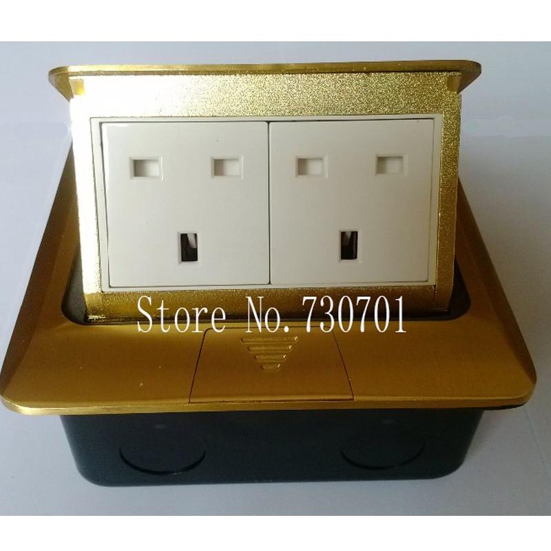 все цены на Golden Copper Dual UK ground socket for SA UK Singapore ect hotel home office building floor socket Free shipping онлайн