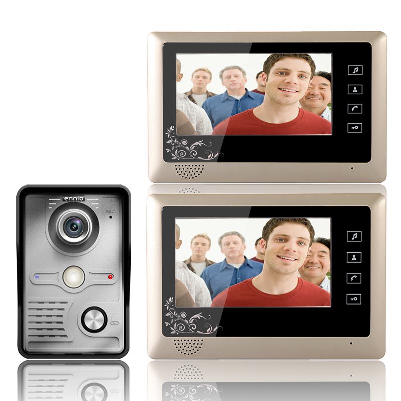 Free shipping 7'' wired color video door phone Intercom system video doorbell 1 CMOS Night Version Camera+2 monitors 809MKW12 brand new wired 7 inch color video intercom door phone set system 2 monitor 1 waterproof outdoor camera in stock free shipping