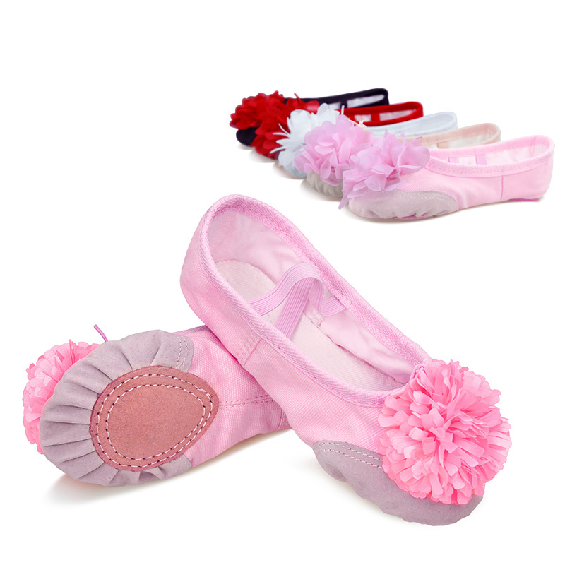 Ballet Shoes For Girls Kids Flower Ballet Slippers Split Sole Soft Yoga Gymnastics Dance Shoes