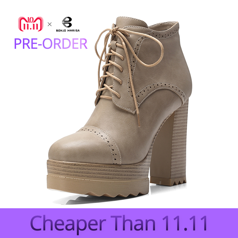 BONJOMARISA Large Size 32-42 lace-up Fretwork Thick Platform Ankle Boots Women Winter 2018 lace-up High Heels Shoes Woman bonjomarisa large size 33 42 women s genuine leather lace up wedges increasing platform shoes woman casual spring flats