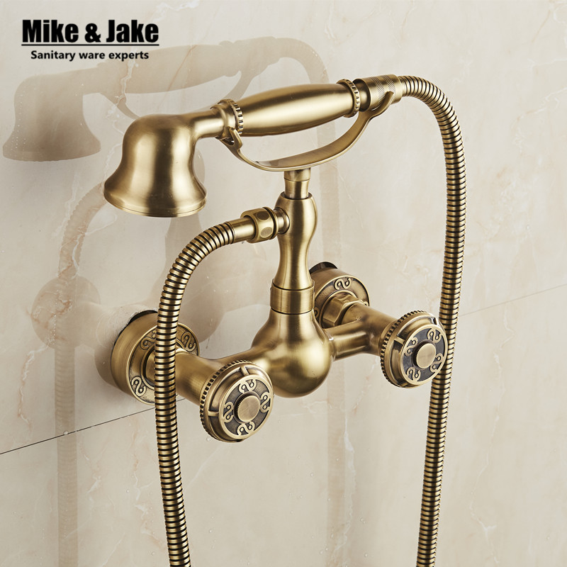 Antique bathtub shower faucet bronze wall shower faucet bathroom telephone bath faucet with shower bathroom shower tap mixer free shipping polished chrome finish new wall mounted waterfall bathroom bathtub handheld shower tap mixer faucet yt 5333