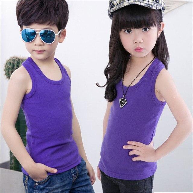 Niños chalecos ropa interior sólido 100% algodón suave bebé niño tanques para  niñas niños camisoles 01a5700c7820