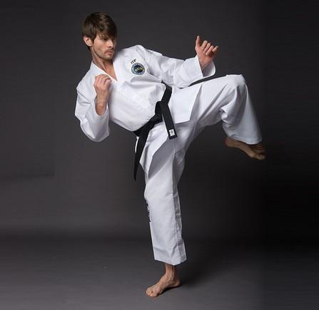 High quality adult ITF Taekwondo Karate uniform training cloth taekwondo sanda boxing training target black red size m