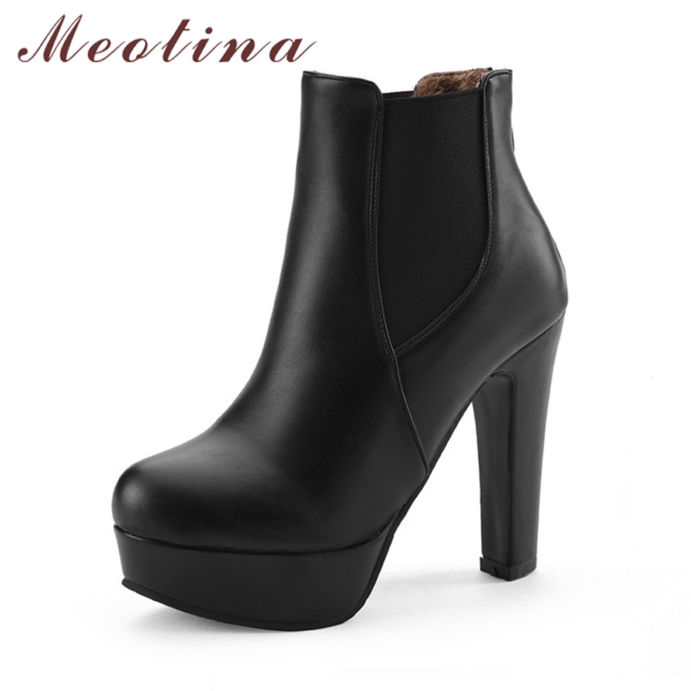 Meotina Women Boots Shoes Women High Heels Ankle Boots Winter Boots Zip Ladies Shoes Sexy Platform High Heels Big Size 44 10 11 mcckle 2017 ladies fashion sexy autumn winter ankle boots female slip on zip black solid platform high heels plus size34 43