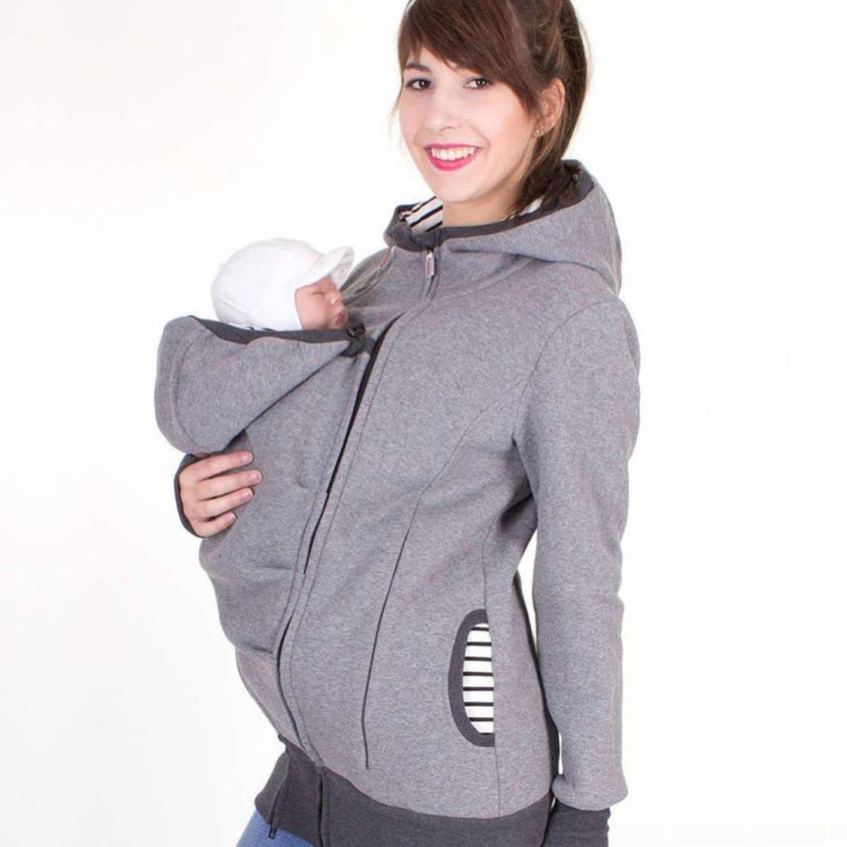 Meternity sudaderas con capucha canguro abrigo de invierno con capucha para mujeres embarazadas bebé chaqueta de abrigo de ropa de maternidad espesar