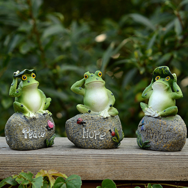 Cute Frog Decorative Stone Garden Statues And Ornaments Outdoor Lawn Yard  Cartoon Animal Gnome Art Garden