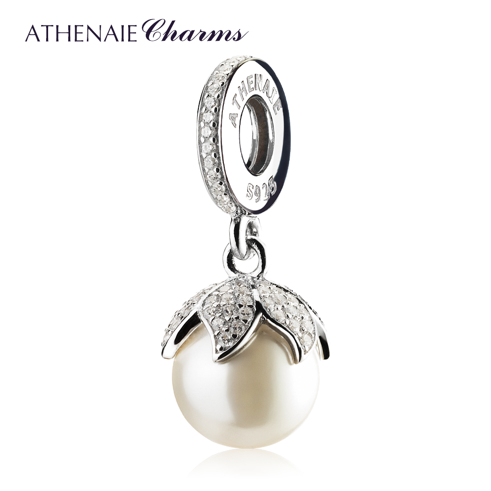 ATHENAIE 925 Sterling Silver with Pave Clear CZ Luminous Elegance White Pearl Drops Charms Fit Women Bracetes & Bangle Jewelry