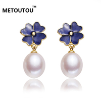 2017Sweet style fashion 925 silver freshwater pearl earrings pearl earrings clovers to send his girlfriend a variety of colors