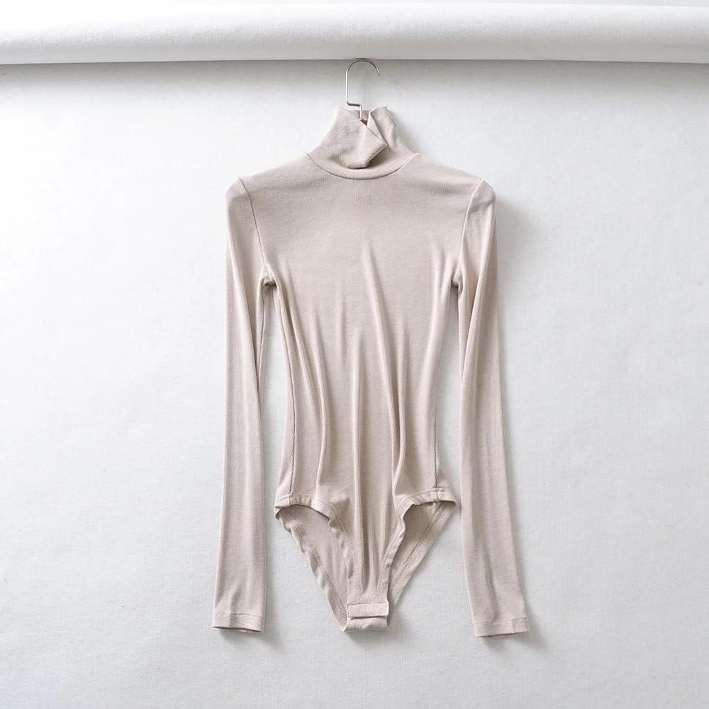 Yanueun 2019 Spring Autumn New Solid Turtleneck Bodysuit Female Slim Long Sleeve Soft Basic Jumpsuits For Women Bodysuits